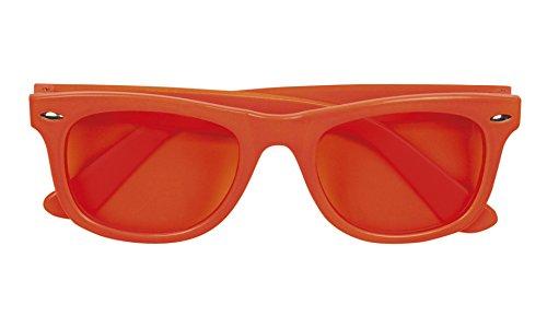 Halloweenia - oversize, neon, Brille, Kostüm, Sonnenbrille, Orange (Siebziger Und Achtziger Jahre Kostüm)