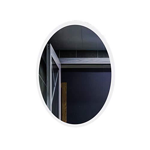 Badezimmerspiegel LED Oval Intelligentes Design Elegant Explosionsgeschützter Kosmetikspiegel Geeignet Für Schlafzimmer Badezimmer (Color : White Light, Size : 50x70cm) - Weiße Wand Steuert Vier