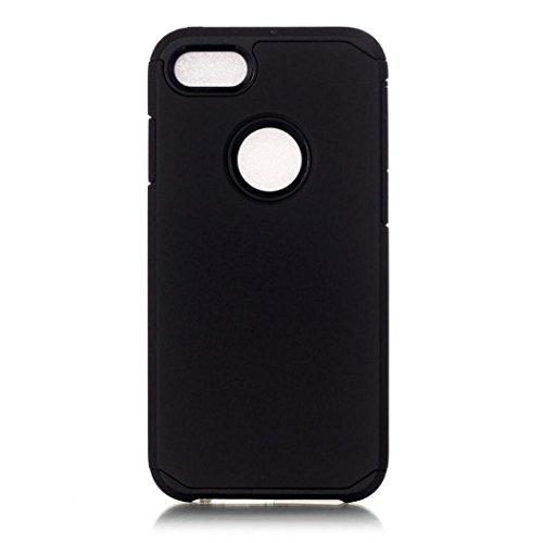 Koly De alta calidad PC + TPU caso de la cubierta de piel para el iPhone 7 de 4.7 pulgadas,Negro