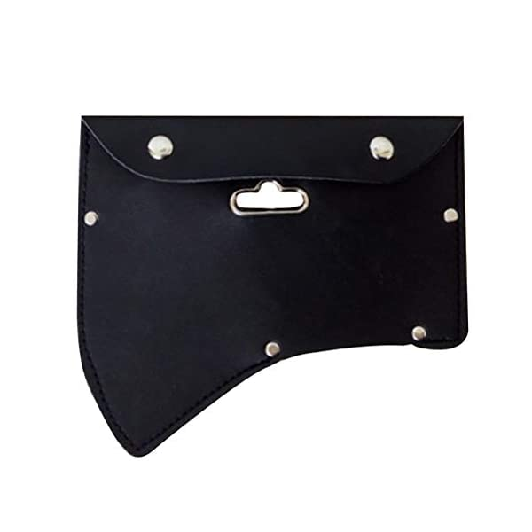 OUNONA Axe Ax Sheath Protective Case Axe Leather Cover with Hook (Black) 1