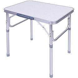 GOTOTOP Table Pliante Portable Hauteur Réglable en Aggloméré et Cadre en Alliage d'aluminium pour Pique-Nique Barbecue Camping Jardin 60x45x25~56cm(Modèle Petite)