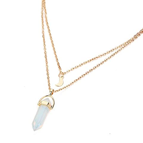 Necklace, Bestow Women Multilayer Irregular Chain Crystal Opals Choker Pendant Necklace (White)