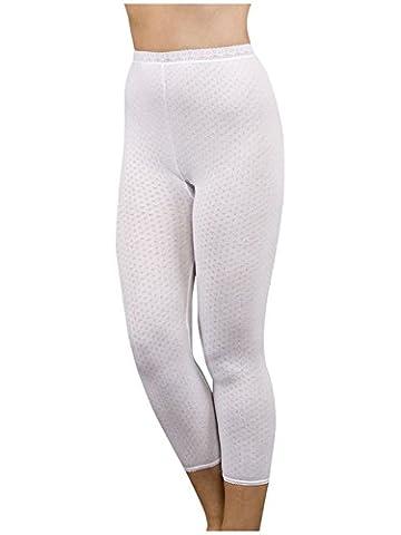 Damen Viloft Premium Thermo Lange Unterhose Strumpfhose Knochellange Weisse Unterwasche (EUR46-48)