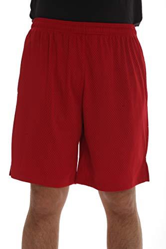 At The Buzzer Herren Active Athletic Mesh Basketball Shorts für Männer mit Taschen - rot - X-Groß