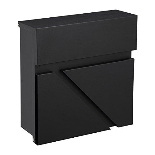 Mari Home Wandmontierter A4 Briefkasten | Größe L, Stahl, Für Den Außenbereich | Briefkasten mit Verschließbarer Tür und 2 Schlüssel | Dim. 32 x 32 x 10.5 cm | Obere Klappe | Schwarz