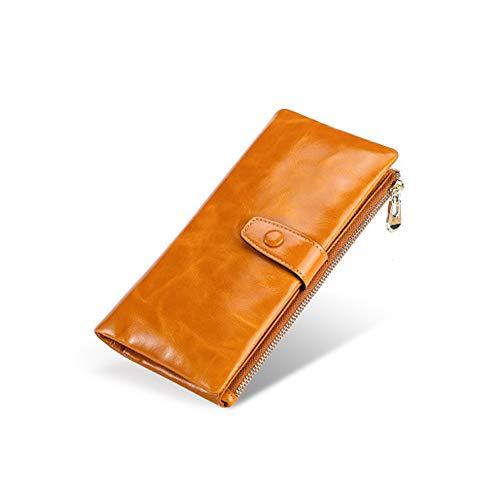 Braune Leder Scheckheft Wallet (Herren Lange Brieftasche braun Leder Clutch Herren Casual Lange Brieftasche Damen Multifunktionshandtasche Retro Anti-Theft Wallet,Brown)