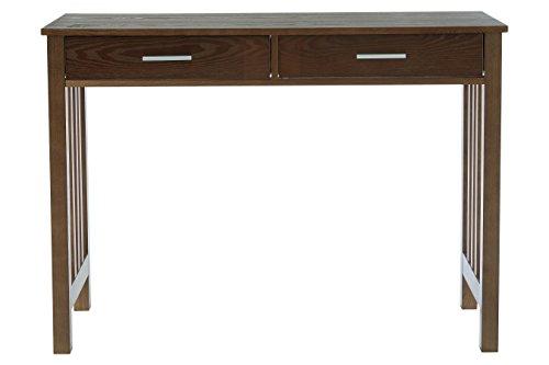 Premier Housewares Lincoln Konsole mit 2Schubladen, Esche Furnier/MDF, Nussbaum, 40x 105x 76cm (2 Beistelltisch Schublade Nussbaum)