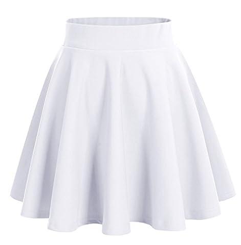 Dresstells Damen Basic Solide vielseitige Dehnbar Informell Mini Glocken Rock Weiß L