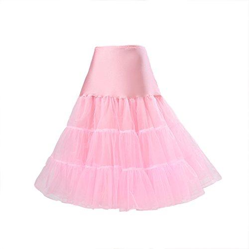 Boolavard® 50er Jahre Petticoat Vintage Retro Reifrock Petticoat Unterrock für Wedding Bridal Petticoat Rockabilly Kleid in Mehreren Farben (L-XXL, Hell Rosa)