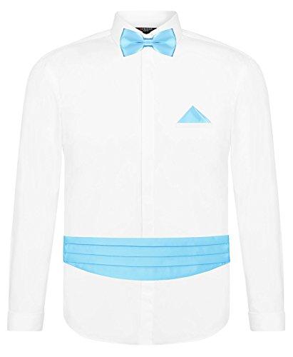 CRIXUS Herren Hemd Weiß Slim Fit Manschettenhemd + Kummerbund Set in Baby Blau- 5 teilig - Anzug Schärpe (XXL - Kragenweite: 45/46)
