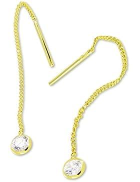 VASCAYA Damen Ohrdurchzieher Ohrring Zirkonia weiß Gold 333 Geschenk
