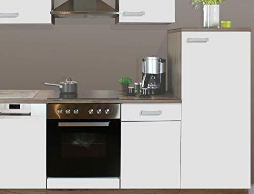 expendio Küchenblock Melina 270 cm mit E-Geräten komplett weiß San-Remo Küchenzeile Küche Einbauküche Komplett-Küche, Ausführung:Kühlschrank rechts