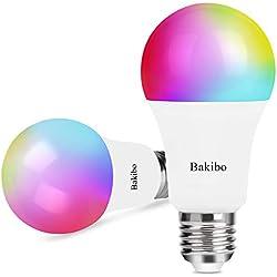 bakibo Ampoule Connectée LED WiFi Intelligente Dimmable 9W 1000Lm, E27 Smart Ampoule compatible avec Alexa, Echo, Google Home et IFTTT, A19 90W Equivalente RGB couleur changement Lumière, 2 Pcs