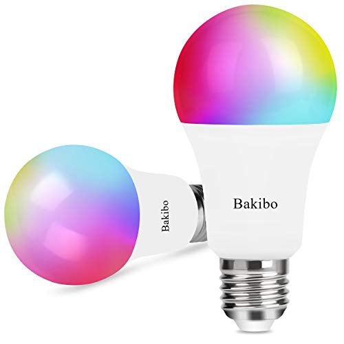 bakibo Smart WiFi LED Lampen Glühbirne Dimmbar 9W 1000Lm, E27 Intelligente Multicolor Birne Kompatibel mit Alexa Echo, Google Home und IFTTT, A19 90W Gleichwertige RGB Farbwechselbirne, 2 Pcs Intelligente Led