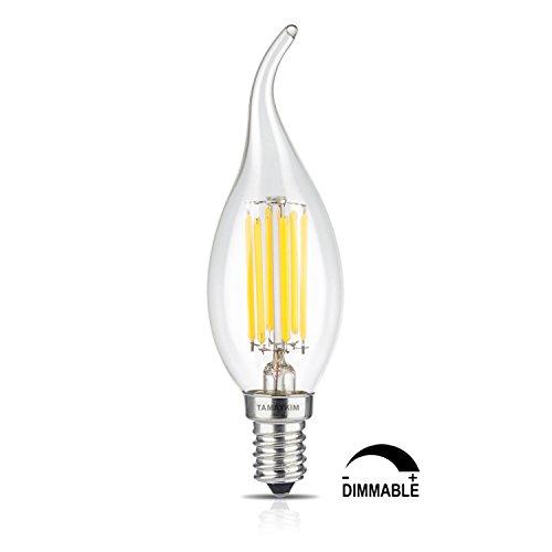 TAMAYKIM C35 6W Dimmerabile Filamento Lampadina LED Candela - 4000K Bianco Naturale 650 lumen - 6W equivalente a 65W - Attacco E14 - Fiamma Forma - 360° Angolazione Fascio Luce