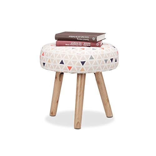 Relaxdays Runder Beistellhocker mit Dreiecksmuster, Holzbeine, Kinderzimmer, Fußablage, Polsterhocker 35 x 35 cm, bunt
