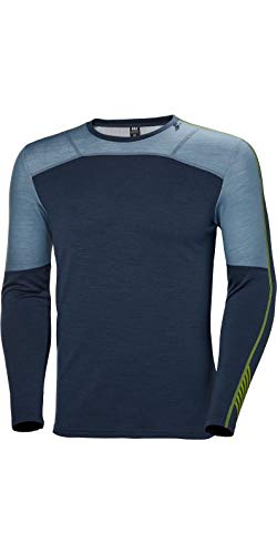 Helly Hansen Herren Lifa Merino Crew Thermische Funktionsunterwäsche Langärmliges Sport-t-Shirt, North Sea Blue, 2XL -