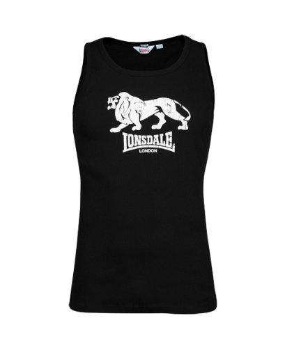 Lonsdale Herren Langarmshirt Singlet T-shirt Slim Fit Rib Foxberry schwarz (schwarz) Medium (Print-gerippte Strickjacke)