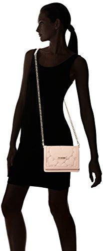 Love Moschino Damen Leder Falten über Clutch-Tasche Rosa Pink (Pink)