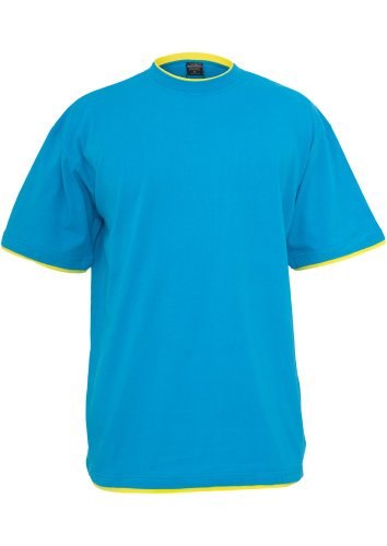 URBAN CLASSICS Contrast Tall T-Shirt, turquoise/yellow Turquoise/Yellow