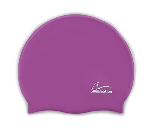Swimmotion - Badekappe / Badehaube - Rutschfest und sehr elastisch - für kurze und lange Haare - In mehreren Farben (Violett)