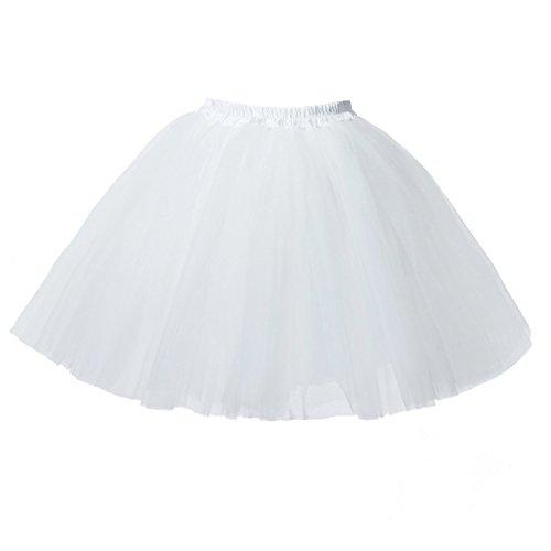 Honeystore Damen's Mini Tutu Ballett Mehrschichtige Rüschen Unterkleid Weiß (Weiße Rüschen Korsett)