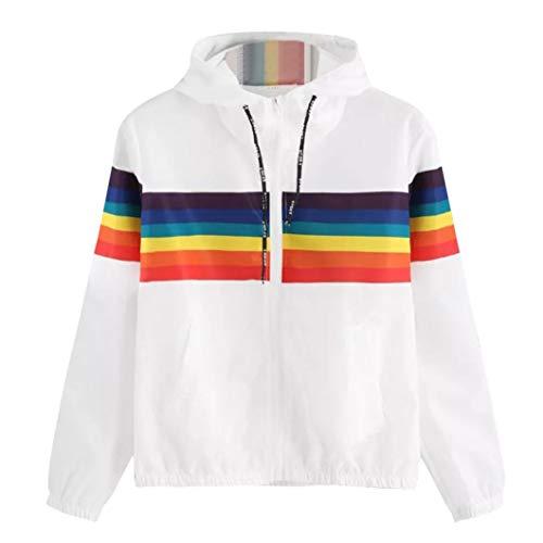 Longra Damen Jacken Rainbow Patchwork Kapuzenjacke Sweatjacke Herbstjacke Leichte Jacke Oversized übergangsjacke Steppjacke Weiß Hoodie...