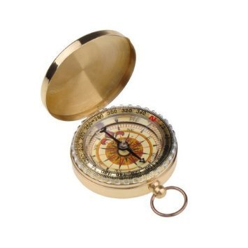 Outdoor Camping Hiking Portable Brass Round Golden Compass Navigation Tool--46G
