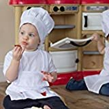 ES Chefskin Baby/Toddler Set Apron + Hat White, Fits 12-36 Month Olds 65/35 Polycotton Light Twill Perfect for your Little Chefs in Training, Gifts or Party Favors!