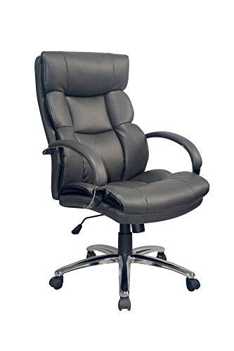 HOMEXPERTS Bürostuhl PUSH-XXL grau-schwarz bis 150 kg, großer Chefsessel für Büro u. Jugendzimmer, Metall verchromtes Gestell/Kunstleder
