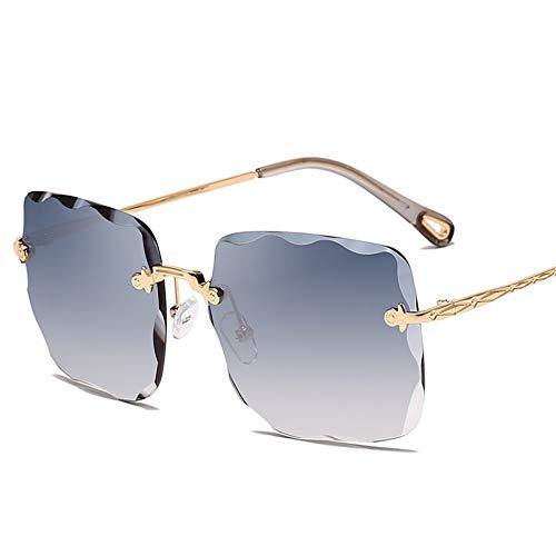 MJDABAOFA Sonnenbrillen,Übergroße Randlose Sonnenbrille Frauen Unregelmäßige Wave Linse Gold Frame Blau Grüne Linse Sonnenbrille Metallrahmen Damen Sonnenbrille Uv 400 Farbtöne Brillen