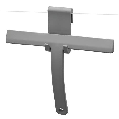 bremermann Duschabzieher mit Silikon-Ummantelung und Halterung zum Einhängen an die Duschwand, grau