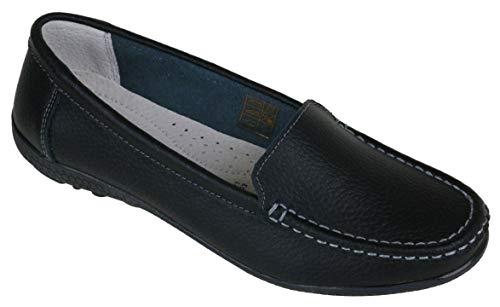 Damen Schuhe Mokassin Slipper Velour-Leder rot blau schwarz Weiss NEU (38 EU, schwarz/Black) -
