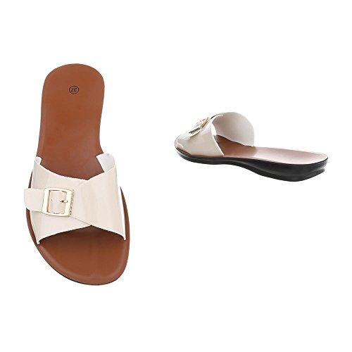 Ital-Design Pantoletten Damenschuhe Pantoletten Pantoletten Sandalen & Sandaletten Beige