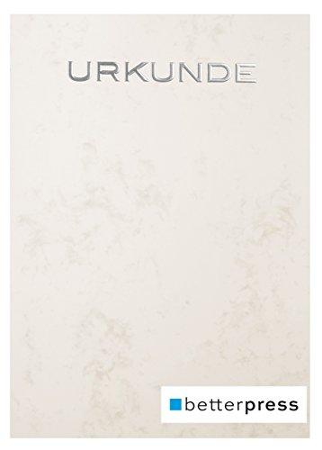 Urkunden Vordrucke Marmor geprägt Reliefprägung 200 g/m² din a4 10 Stück warm grau Betterpress (Silber)