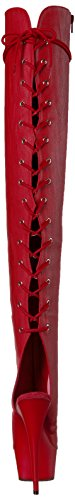Pleaser DELIGHT-3019, Stivali donna Red Faux Leather/Red Matte