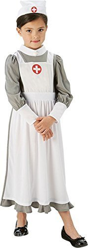 �dchen Kostüm Weltkrieg 1. Weltkrieg Vintage Krankenschwester büchertag Kostüm kinder-outfit - Weiß, XL (9-10 Years) (Weltkrieg 1 Kind Kostüm)