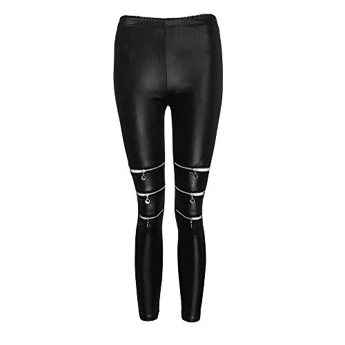 YEBIRAL Damen Kunstleder Leggings PU Leder Hose Leder-Optik Leggings Wet-Look Skinny Strumpfhosen mit Reißverschluss Streetwear & Sporthose(S,Schwarz) Wet-look-capri-leggings