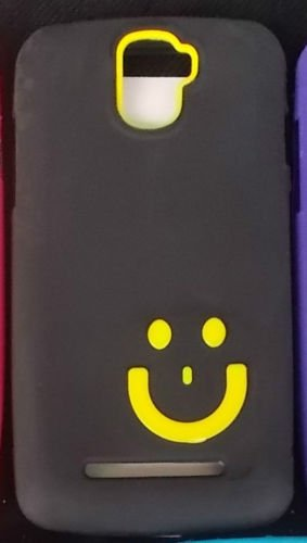 ECellStreet Smiley Soft Back Case Cover Back Cover For Micromax A105 Canvas Entice - Yellow in Black  available at amazon for Rs.149