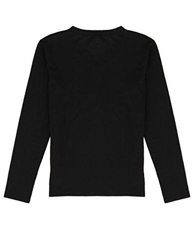 Aulei Männer Baumwolle Beiläufig V-Ausschnitt slim Fit Lange Ärmel T-Shirt Solide Tops Langarmshirt Schwarz