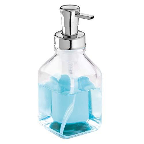 Mdesign portasapone a schiuma - dispenser ricaricabile - traparente - in vetro - 553 ml - perfetto per il bagno e la cucina - per sapone a schiuma di prima qualità