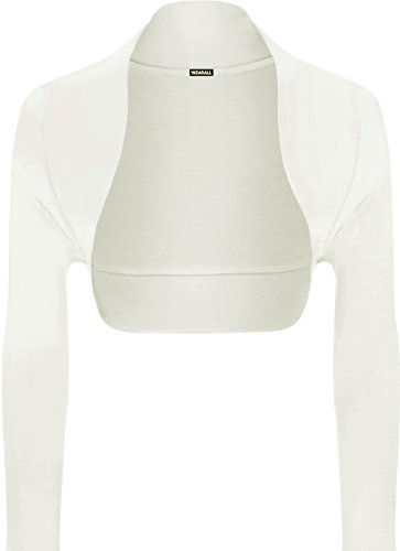 WearAll - Damen Bolero langarm Top - Creme - 36-38