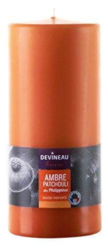 DEVINEAU 1302924 Bougie Grand Modèle 80H180 Ambre Patchouli des Philippines Orange
