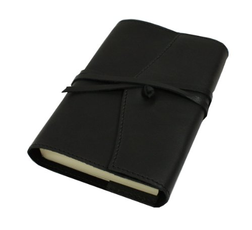 Papuro Milano Adressbuch aus italienischem Leder, handgefertigt, nachfüllbar,9x 13cm, Schwarz