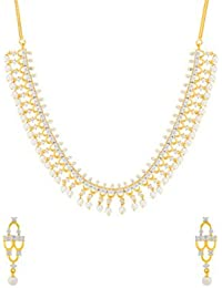 Voylla Traditional Brass With Yellow Gold Plated Pearl Beads Necklace Sets For Women - B077MHS842