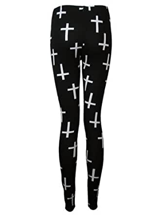 The Home of Fashion New Ladies Black Cross Print Gothic Style Womens Ankle Length Leggings Size 8-16 (16 (L/XL))