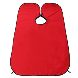 Generic Red Trimming Catcher Waterproof Hairdressing Robes Whiskers Cape Cloth Haircut Adult