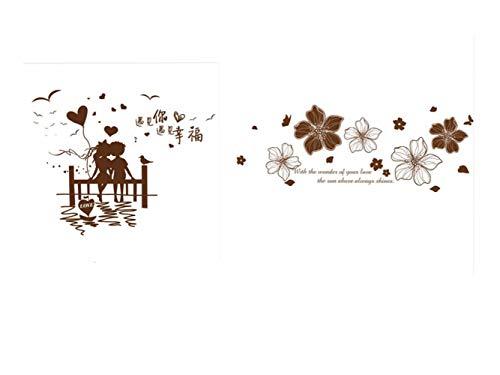 QTXINGMU Las Parejas Románticas Material De PVC Adhesivos De Pared Flores De Bricolaje Vinilos Adhesivos para Salón Dormitorio Matrimonio Decoración A+B