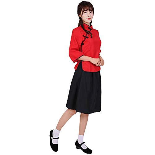 BOZEVON Student Wear - Republik China Stil Mädchen Retro Graduation Class Performance Kleidung,Rot top+Kurzer Rock,EU L=Tag ()