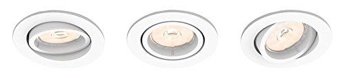 Philips - Set de 3 spots encastrables, modèle : Donegal, culot GU10, forme : ronde, couleur : blanche